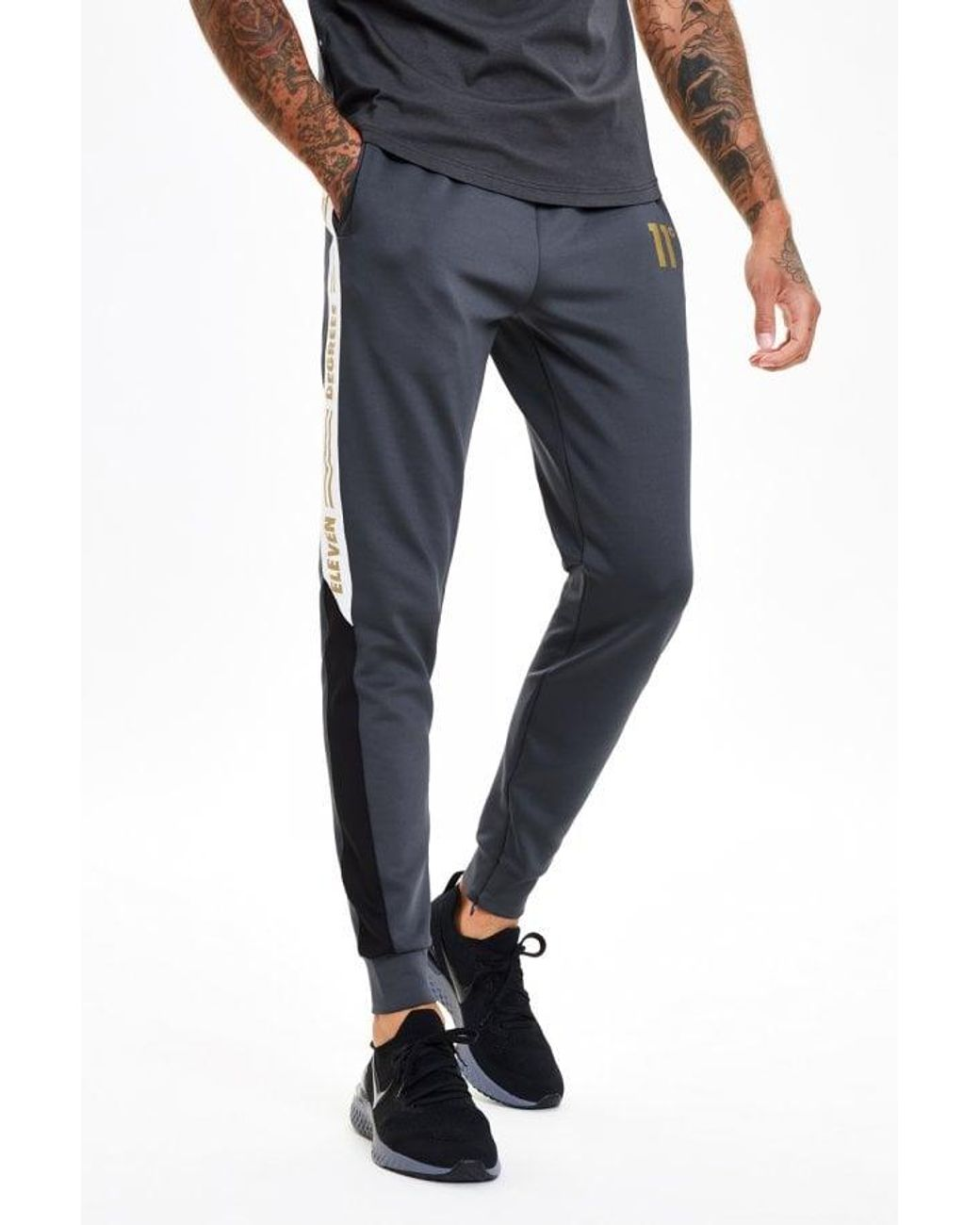 Mens 11 Degrees Piped Skinny Jogging Pants Poly Tracksuit Bottoms New