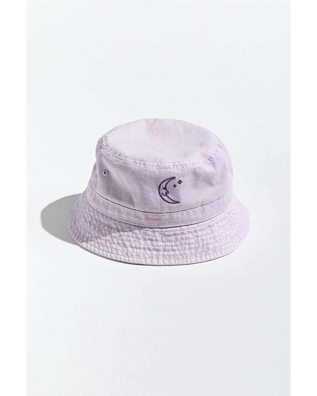 Urban Outfitters Cotton Washed Moon Embroidery Bucket Hat In Lavender Purple For Men Lyst