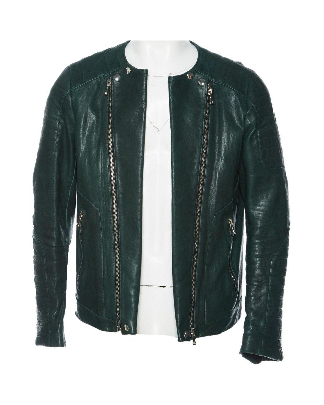 more photos new arrival the cheapest Vest.Blousons en Cuir Vert Cuir Balmain pour homme en ...