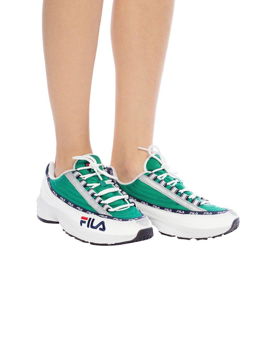 Fila Leather 'dstr97' Sneakers in Grey White Green (Green ...