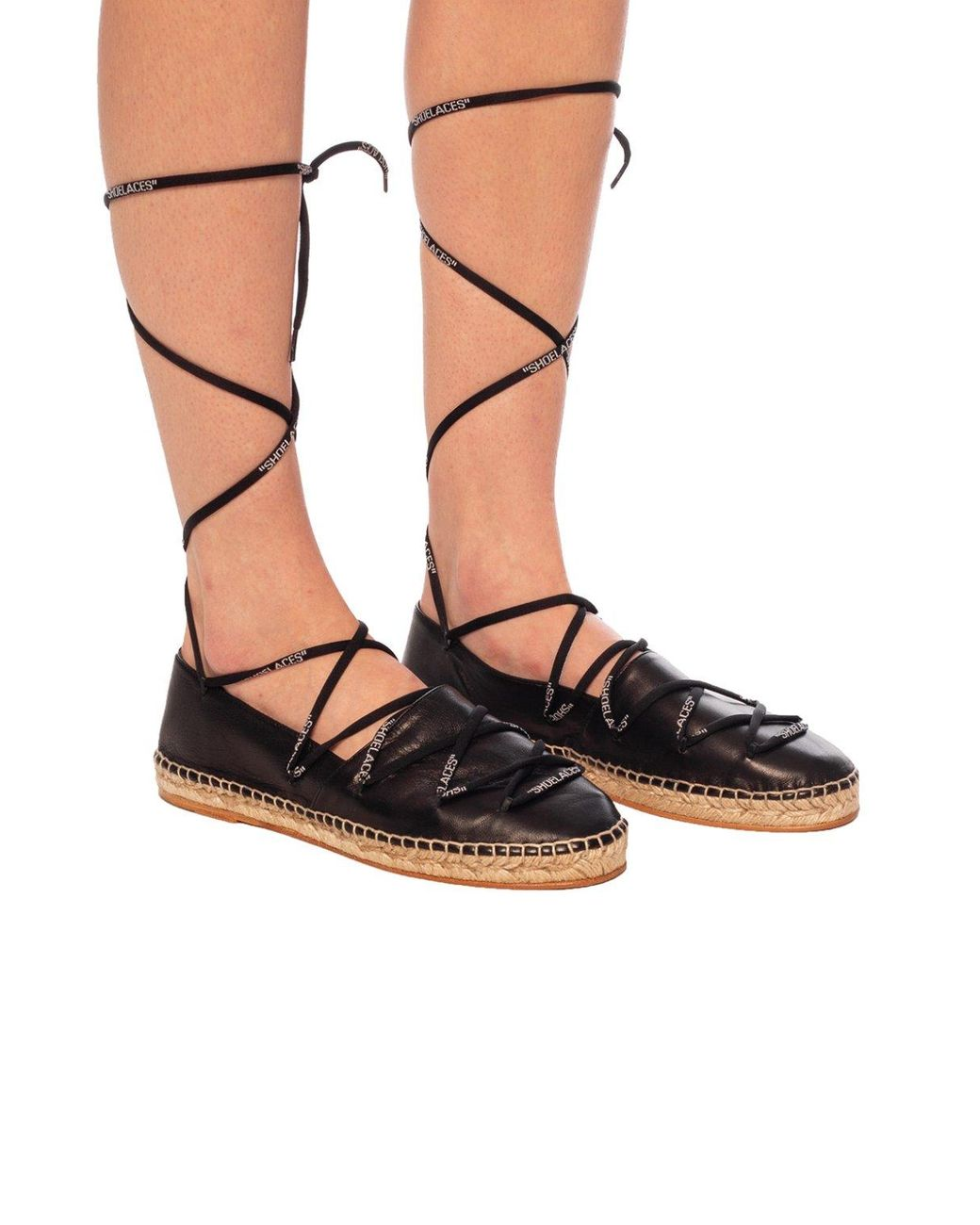 Off-White c/o Virgil Abloh Leather Lace-up Espadrilles in Black - Lyst