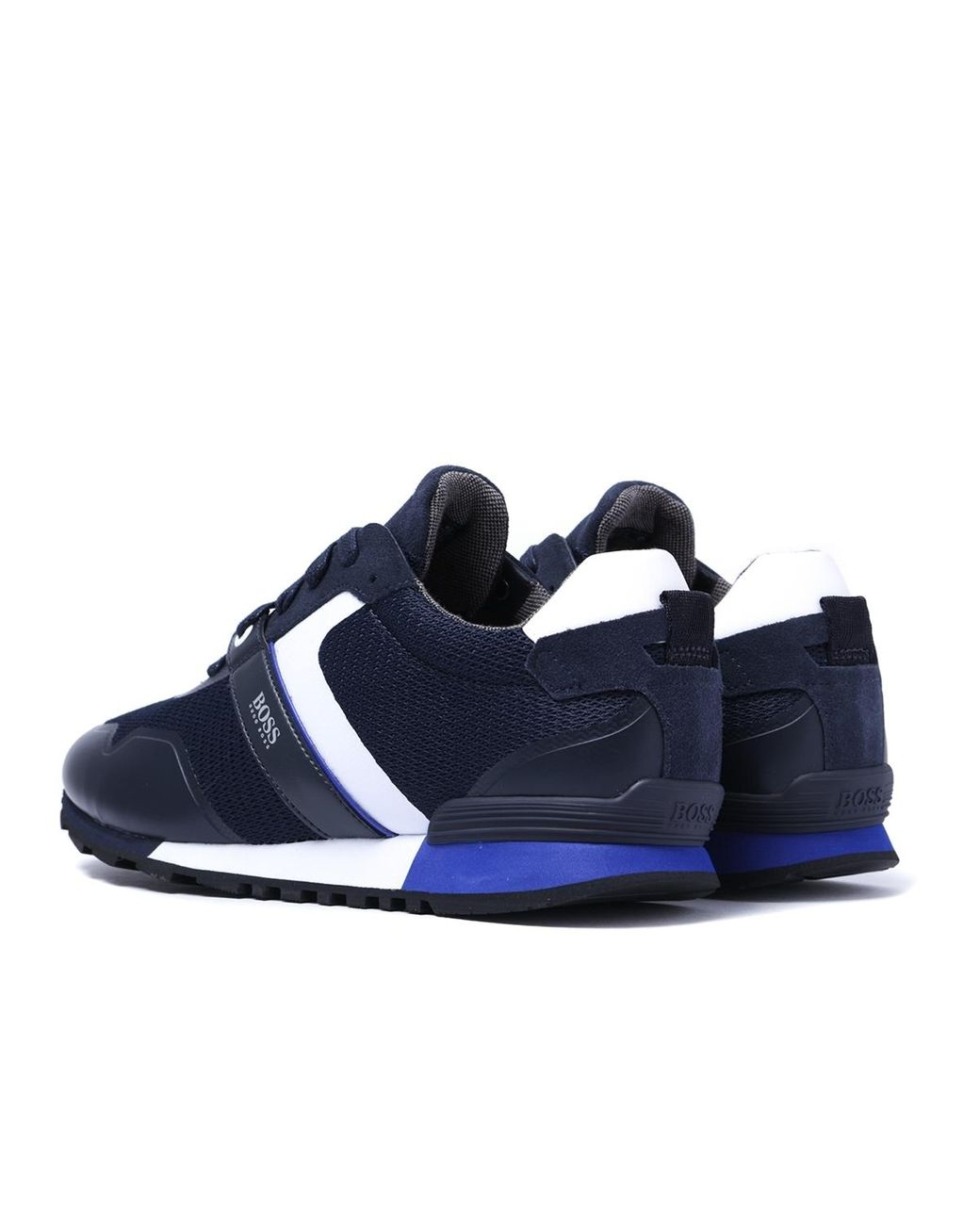 Navy Textile New Mens BOSS  Athleisure Spacit Trainers