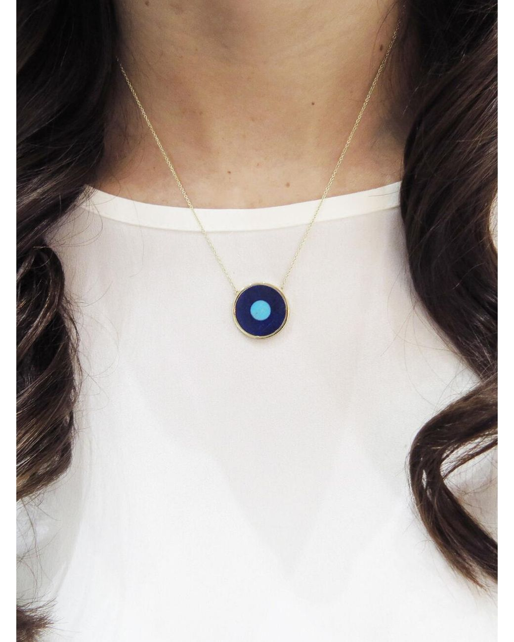 0269739a29ba7 Women's Blue Lapis Inlay And Turquoise Center Evil Eye Pendant Necklace