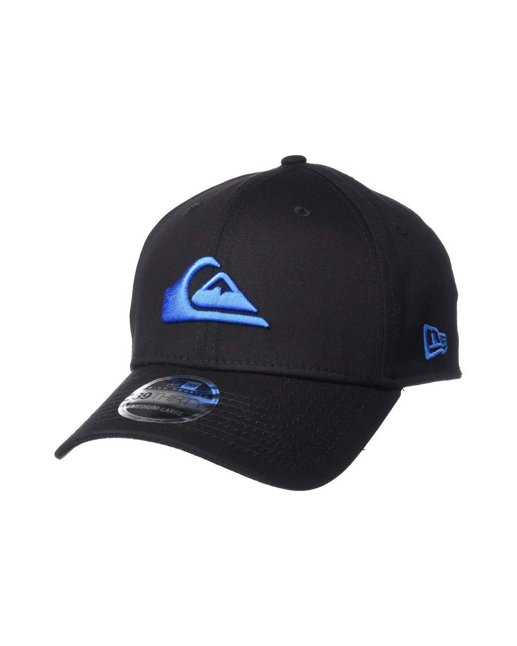 Quiksilver Mens New Era 3930 Mountain /& Wave Stretchfit Hat Black//Blue