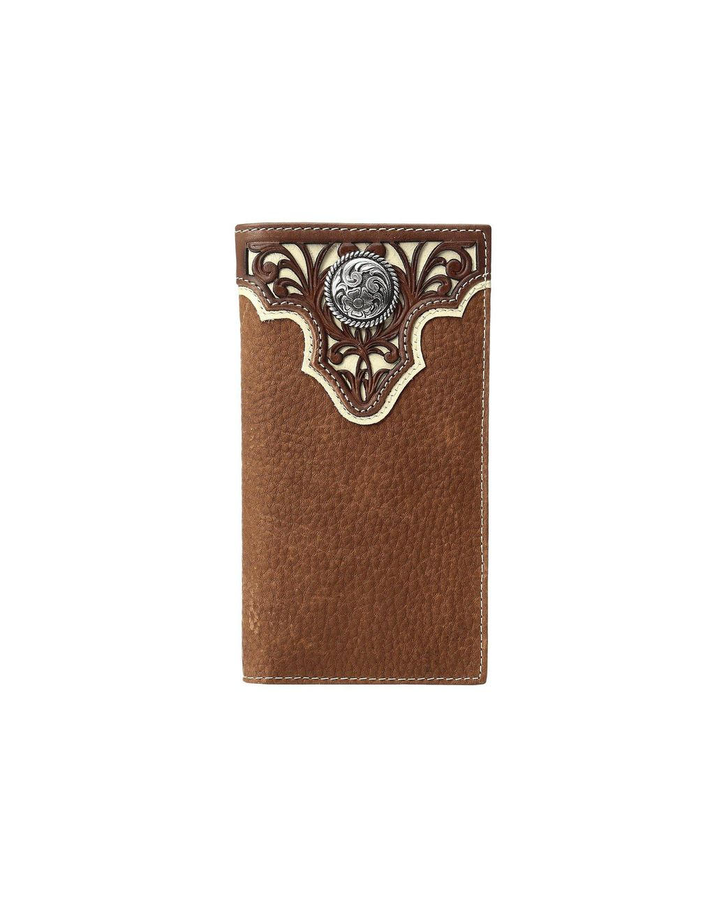 3bc708305a23 Men's Brown Ivory Overlay Concho Rodeo Wallet