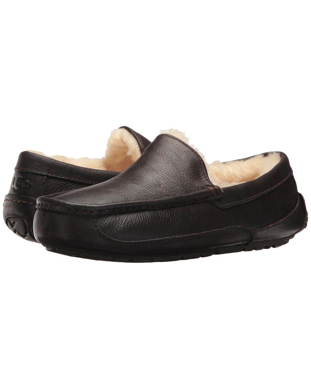 adabf094d7c Men's Brown Ascot Grain Leather Slippers