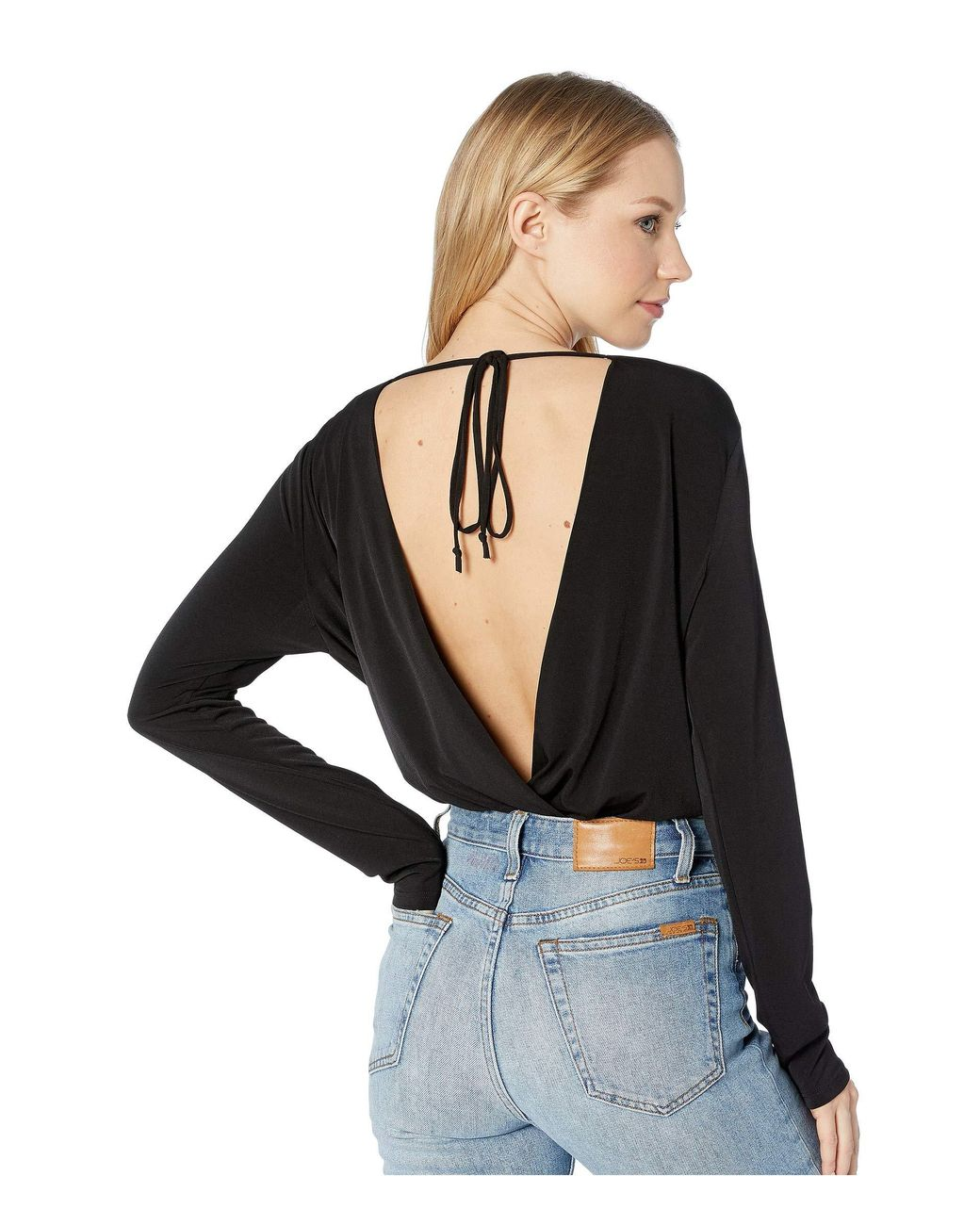 805595b84e9 BCBGeneration Long-sleeve Low V-neck Bodysuit in Black - Save 31% - Lyst
