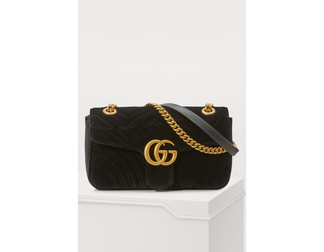 e65d345e815 Gucci GG Marmont Velvet Shoulder Bag in Black - Lyst