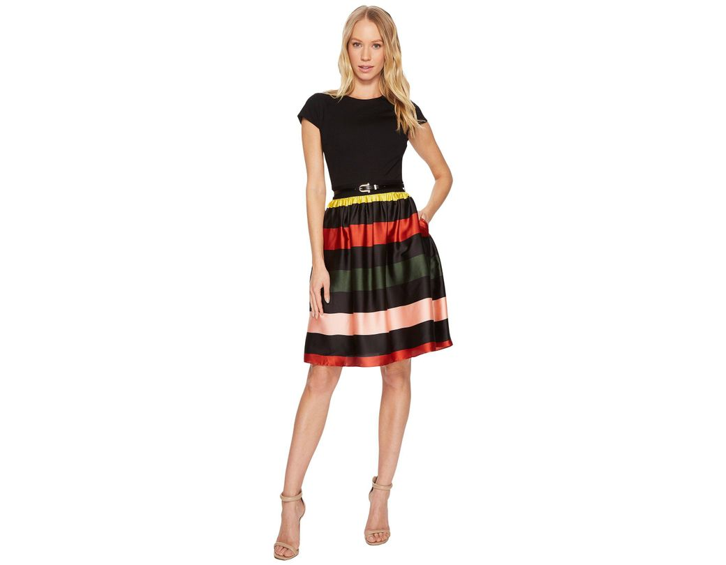 2335890ba Lyst - Ted Baker Aneli Cruise Stripe Bow Midi Dress in Black - Save 13%