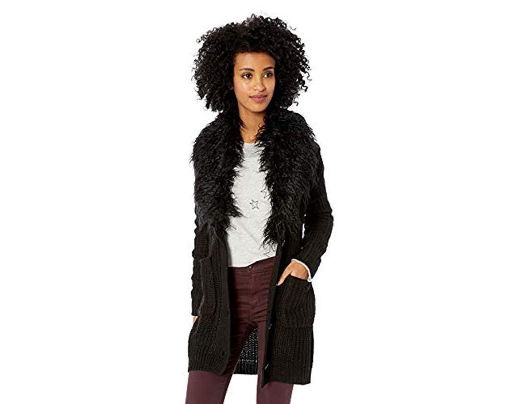 53d762fd8599c8 Jessica Simpson Annie Faux Fur Collar Cardigan Sweater in Black - Lyst