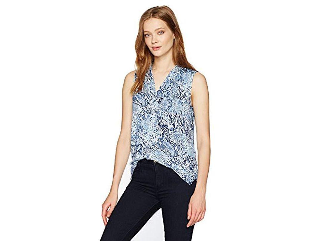 fae5abe7abd4 Lyst - Calvin Klein Sleeveless Printed V-neck Top in Blue