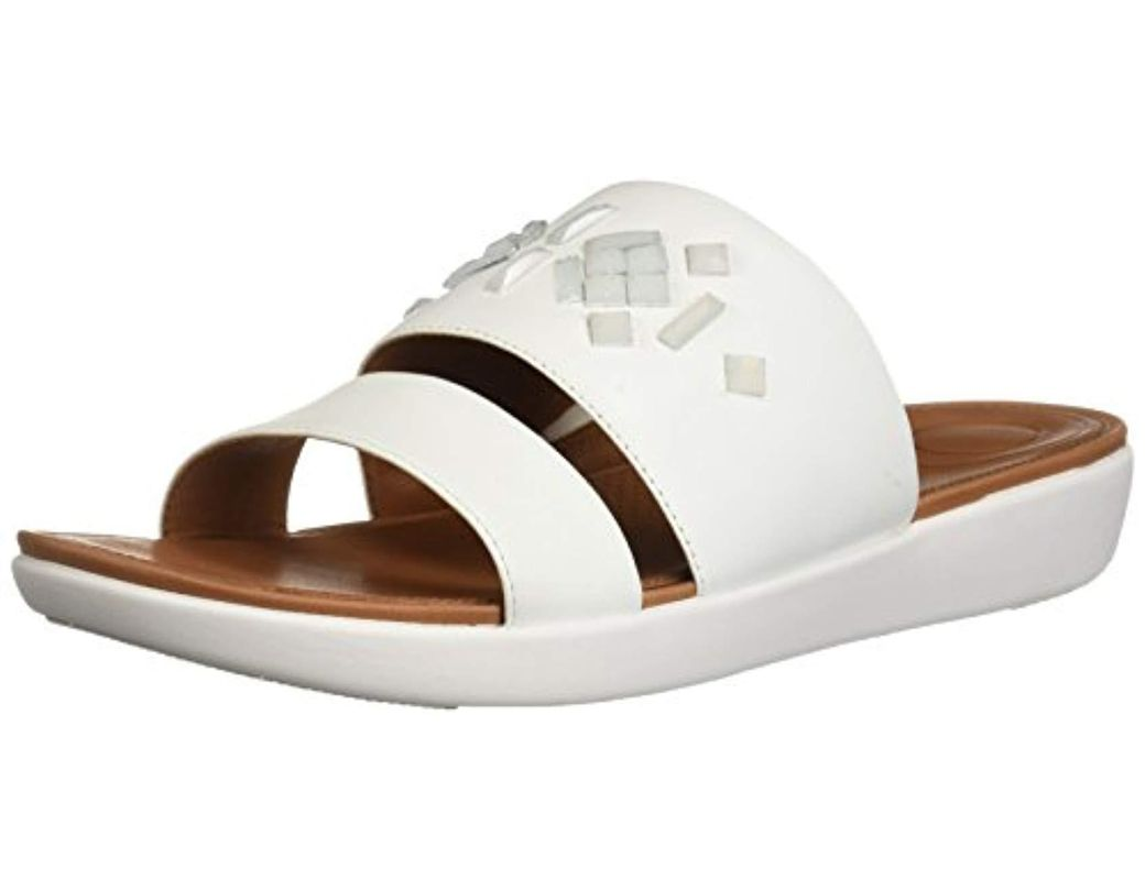 fd77ca0961c3 Lyst - Fitflop Delta Leather Slide Sandals-crystal in White - Save 1%