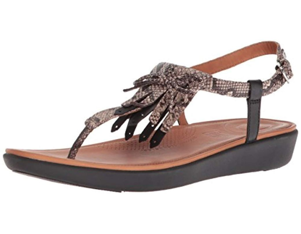 21ec6806ee33 Lyst - Fitflop Tia Fringe Toe-thong Sandals Flat in Black - Save 56%