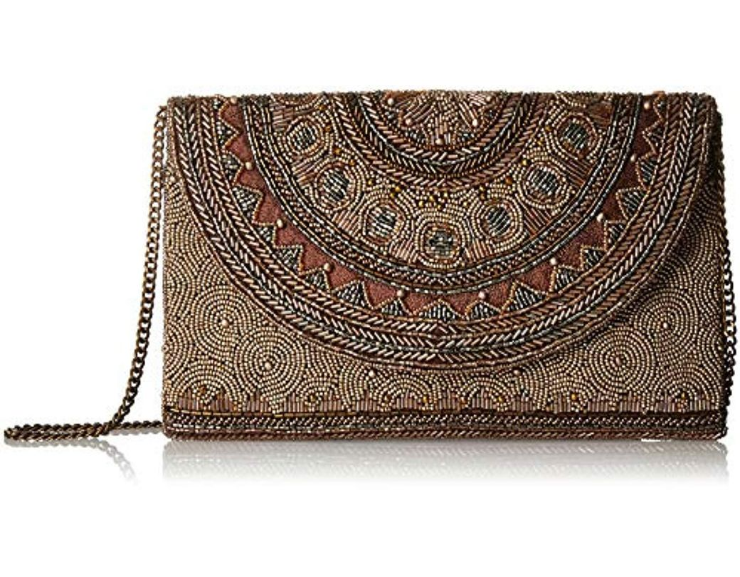 9831958c0eda Mary Frances. Women's Kismet Bronze Beaded Rounded Flap Crossbody Envelope Clutch  Handbag