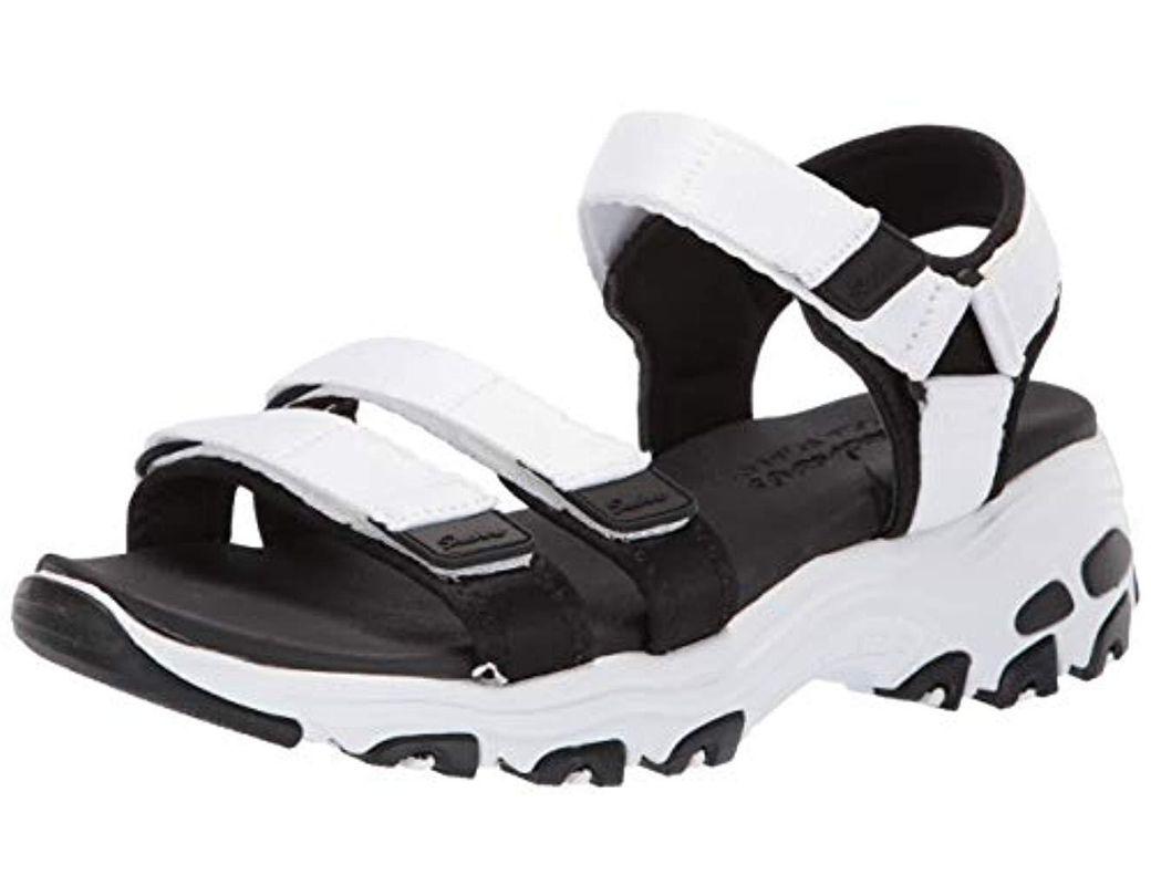 89eea67a4384 Lyst - Skechers D lites-fresh Catch Wedge Sandal in Black - Save 16%