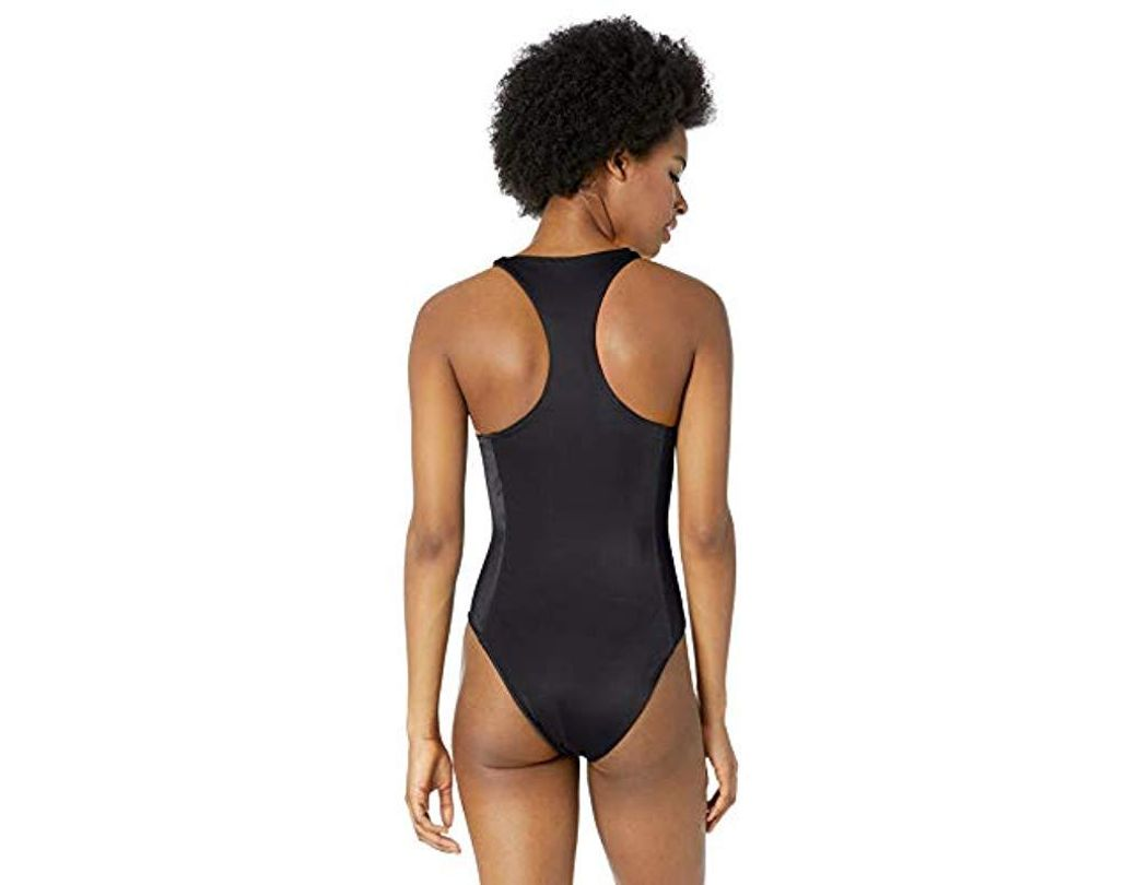 89ba7290874c RVCA Solid Lace Front One Piece Swimsuit in Black - Lyst