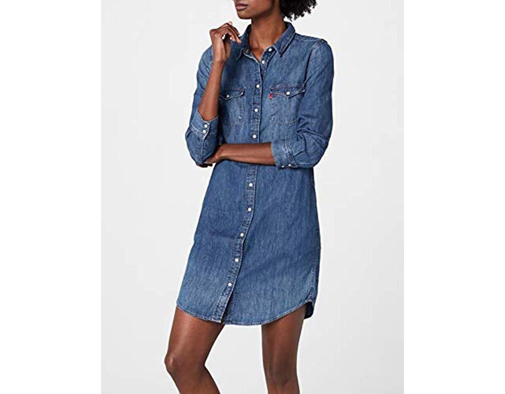 Ls Western Coloris DressRobe Femme Bleu De Iconic UMpVSz