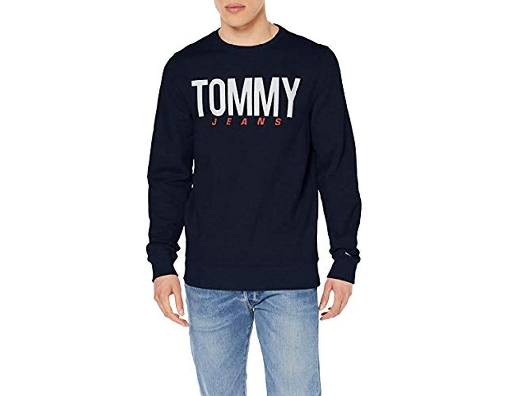 34f2cbe1b Tommy Hilfiger. Men's Blue Tjm Essential Logo Crew Long Sleeve Sweatshirt