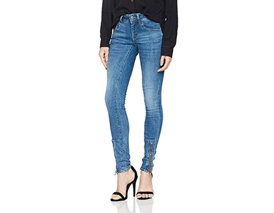 3cd423a4cf0 G-Star RAW Lynn Zip Grip Mid Waist Skinny Wmn Jeans in Blue - Save 23% -  Lyst