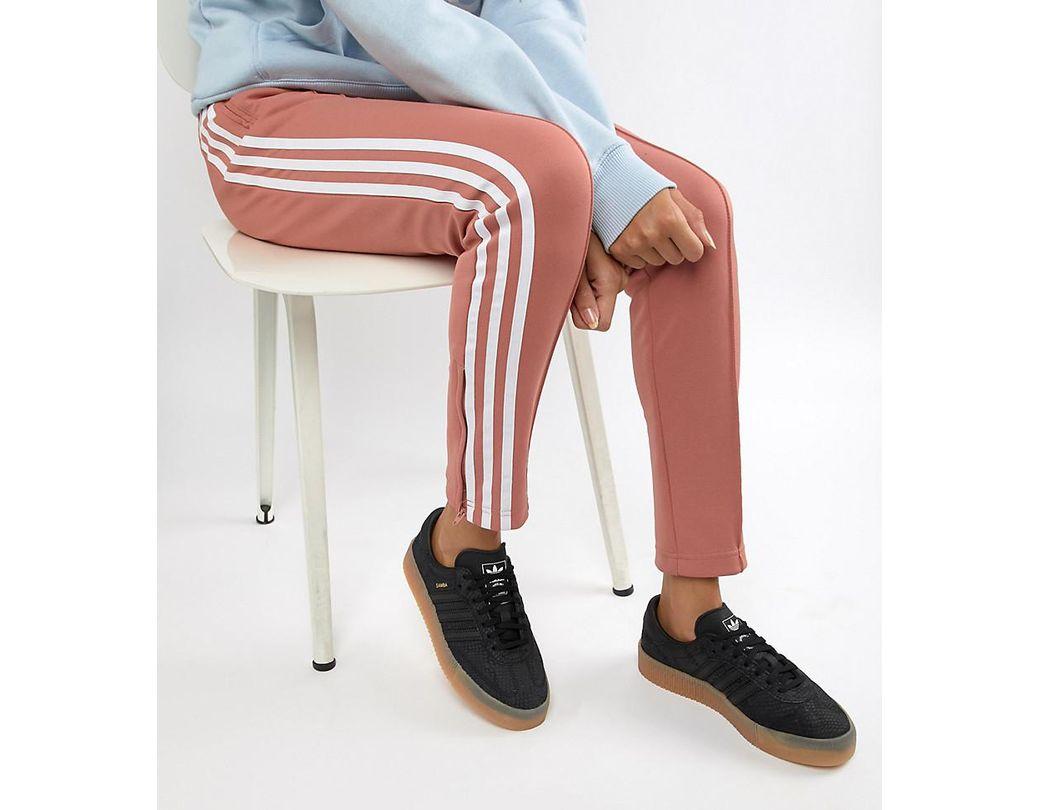 e6f1a5fa36d Lyst - adidas Originals Samba Rose Sneakers In Black With Gum Sole ...