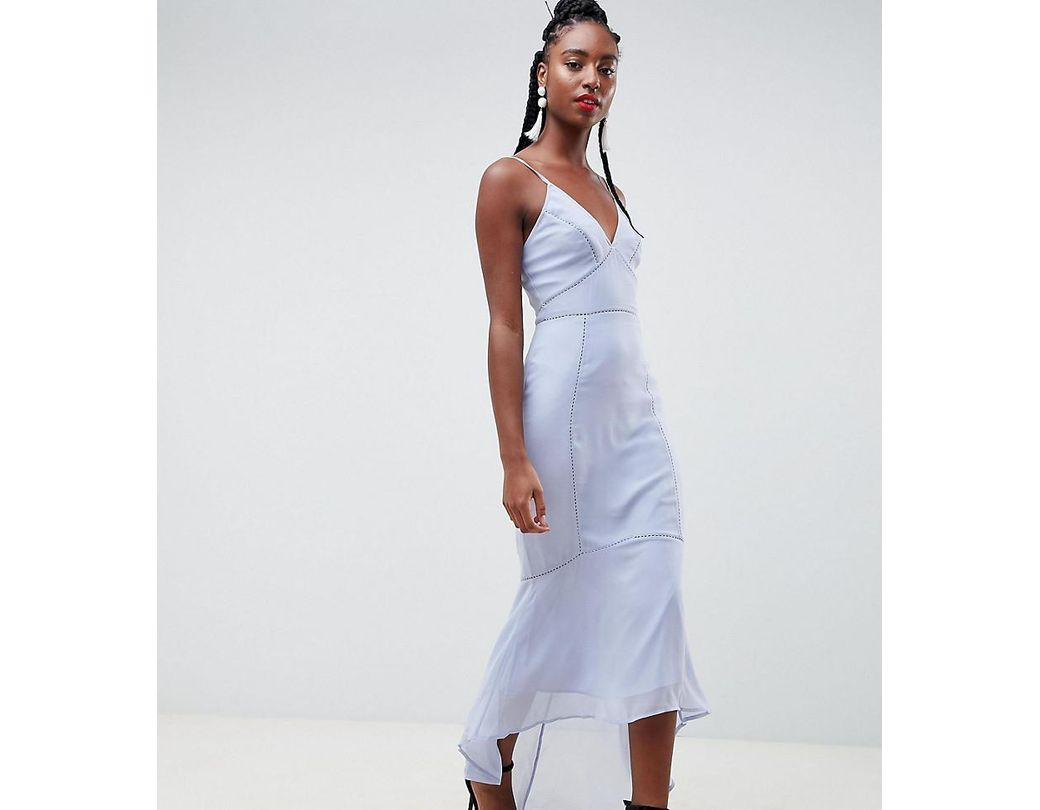 a1817a04084 ASOS Asos Design Tall Cami Midi Dress With Lace Insert in Blue - Lyst