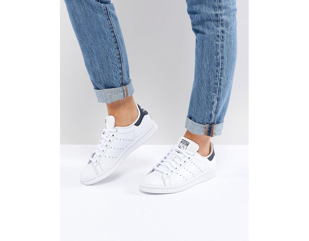 wholesale dealer 13b36 0e069 adidas Originals. Originals Unisex White And Navy Stan Smith Sneakers