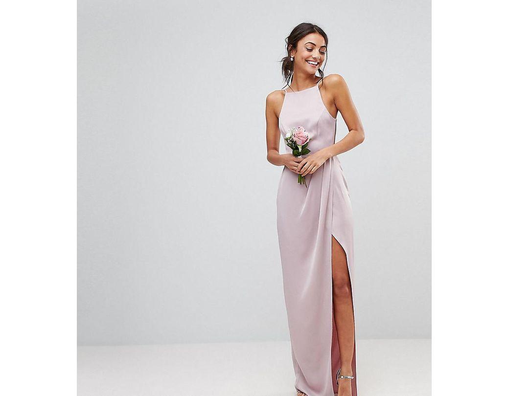 6f7e0a74de69 ASOS Asos Design Tall Drape Front Strappy Back Maxi Dress in Pink - Lyst