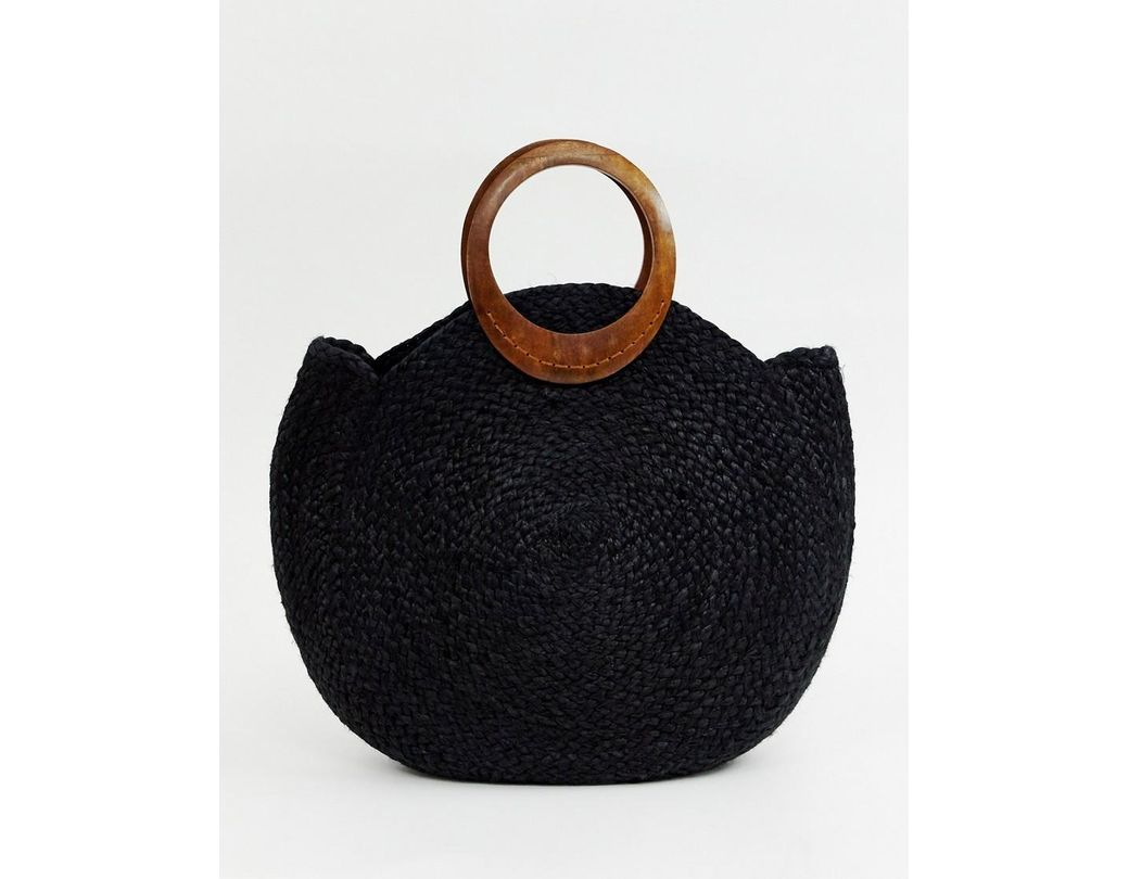 163584594 Accessorize Summer Straw Bag In Black With Interest Handle in Black - Save  44% - Lyst