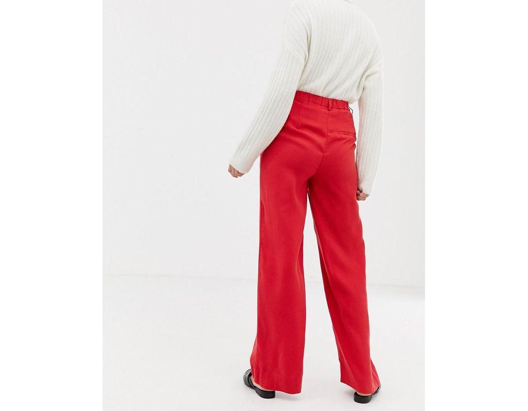 08c3dbc7d Fraven - Pantalon large femme de coloris rouge