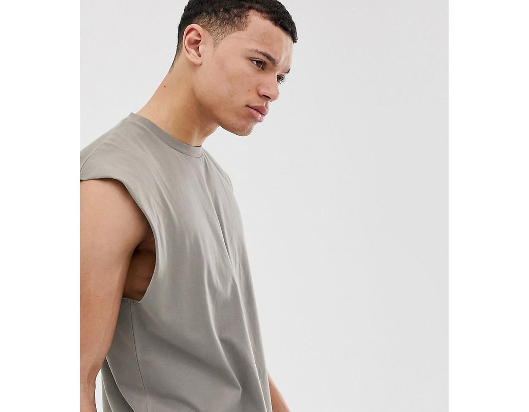 97196d09 Long-Touch to Zoom. Long-Touch to Zoom. 1; 2. ASOS - Natural Tall Oversized  Longline Sleeveless T-shirt In Beige for Men - Lyst ...