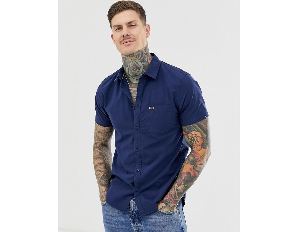 bc161da028d75 Tommy Hilfiger. Men's Blue Short Sleeve Poplin Shirt With Pique Flag Logo  ...