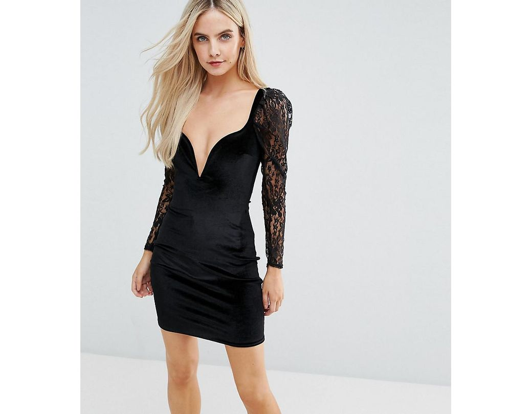 ee55ad87b2d07 Lyst - Boohoo Plunge Neck Velvet Bodycon Dress in Black