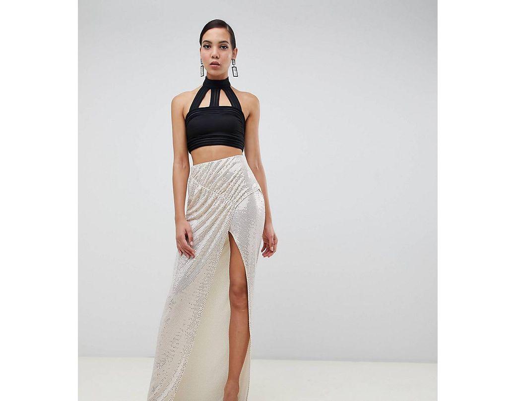 ea8593f4d8d6 ASOS Asos Design Tall Ruched Sequin Jersey Maxi Skirt in Metallic - Lyst