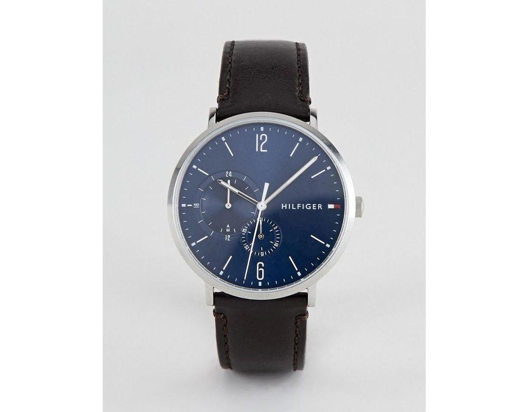 Leather Watch Hilfiger In Brown Tommy For Lyst Brooklyn 40mm Men N0vmy8nwO