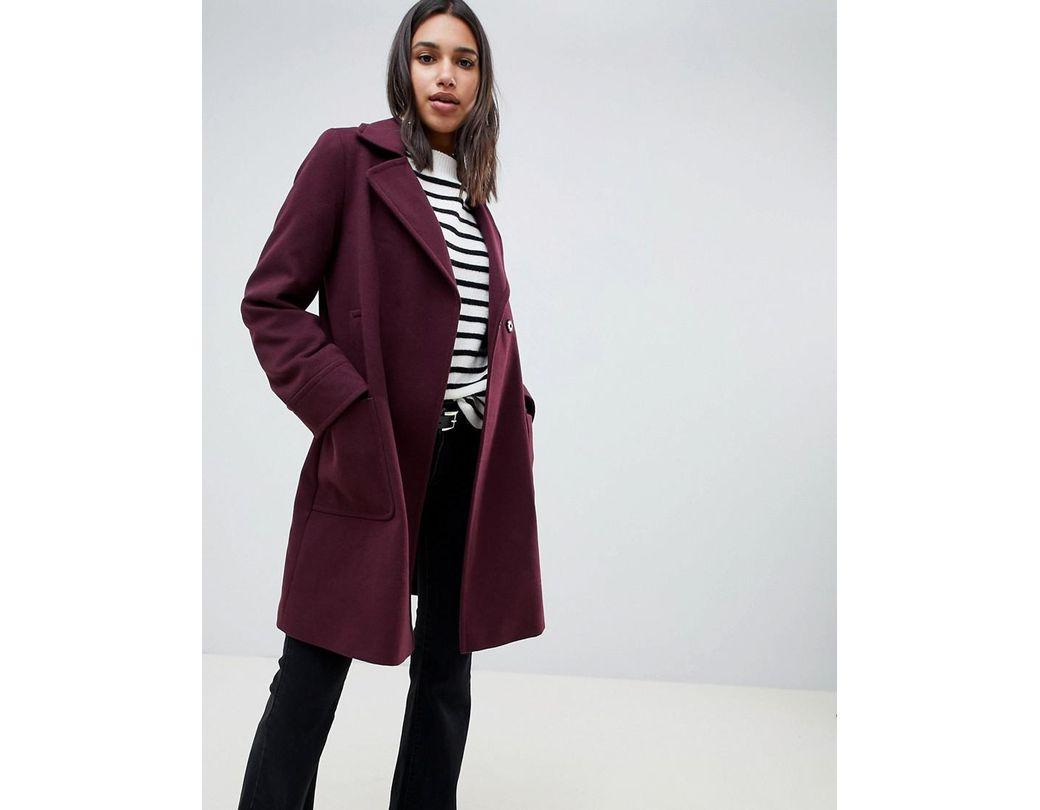 1834df9d3835 ASOS Twill Smart Coat in Purple - Lyst