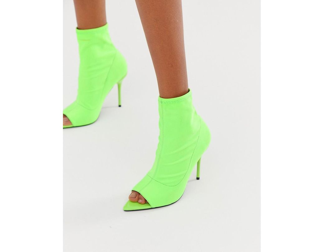 a3d879750bfe ASOS Esther Stiletto Sock Boots In Neon Green in Green - Lyst
