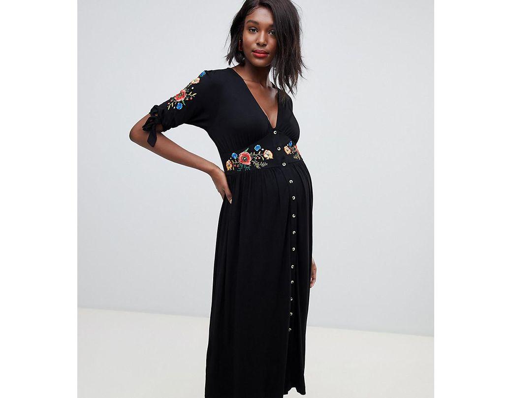 4a717a95e59ee6 ASOS Asos Design Maternity Embroidered Midi Button Through Tea Dress in  Black - Lyst