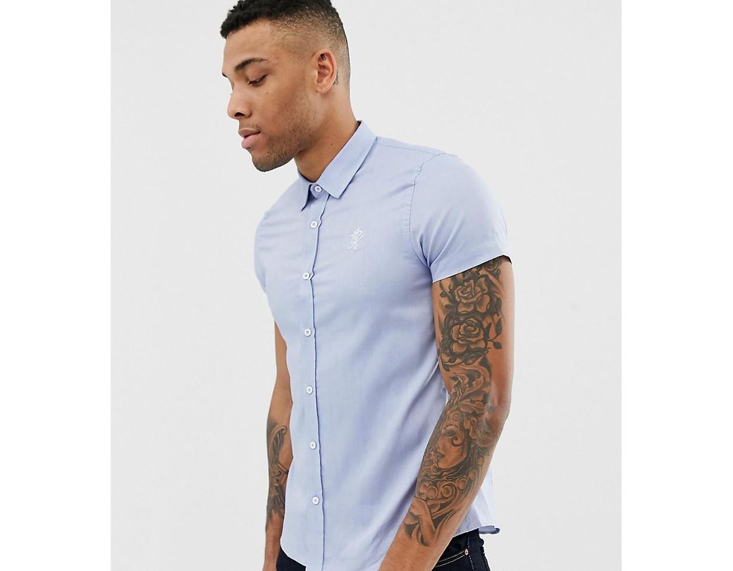 268024cf2ef1e Gym King Muscle Short Sleeve Shirt In Blue Exclusive To Asos in Blue ...