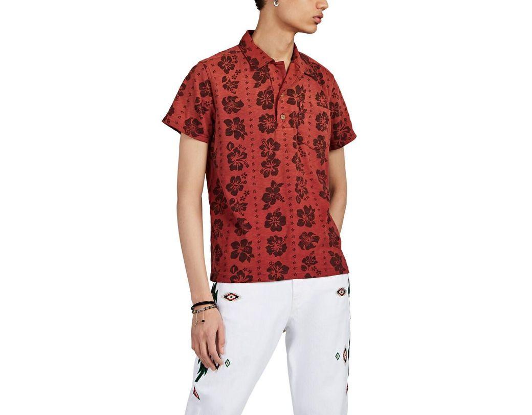 fe5e3533 RRL Hawaiian Slub Cotton Popover Shirt in Red for Men - Lyst