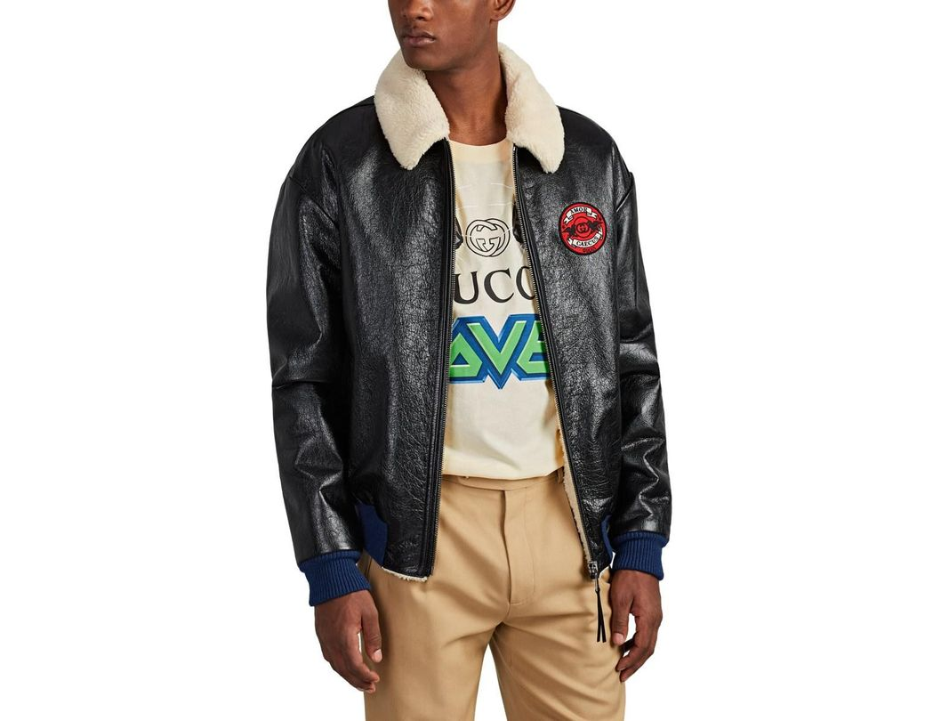618e51e4ca58 Gucci chateau Marmont Sherpa-lined Leather Aviator Jacket in Black for Men  - Lyst