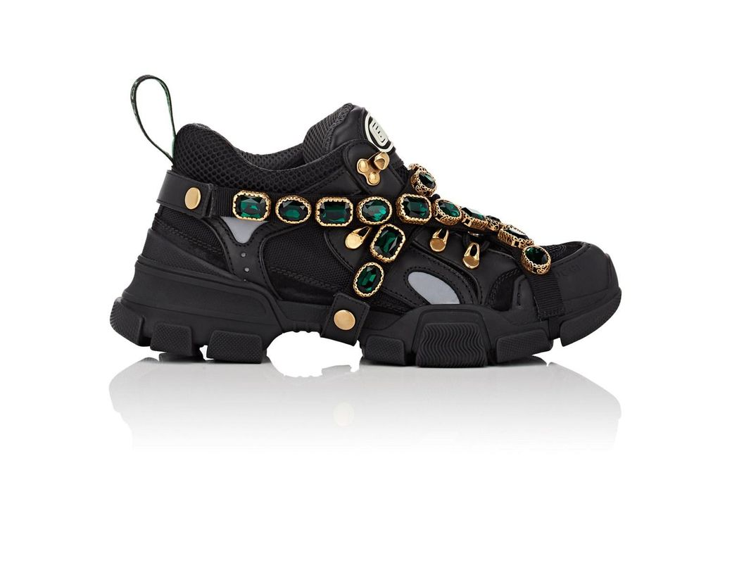 e29e13710fc Lyst - Gucci Flashtrek Sneakers With Removable Crystals in Black
