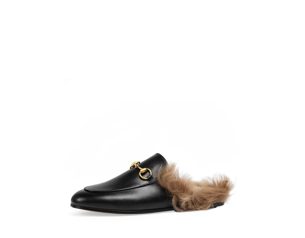 f9782bb1855 Lyst - Gucci Princetown Fur-lined Leather Mule in Black