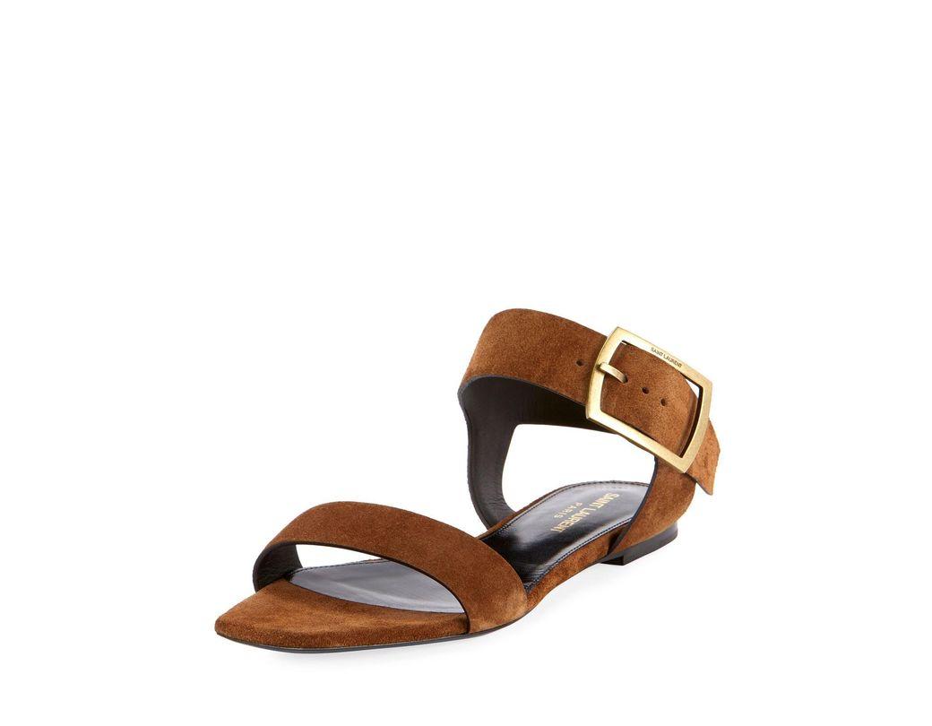 5a288a775 Lyst - Saint Laurent Jodie Suede Buckle Sandals in Brown