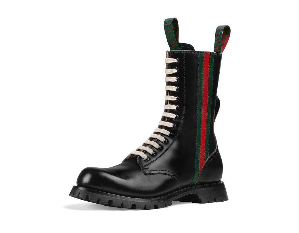 22c24b1866b Lyst - Gucci Leather Arley Web Boots in Black for Men