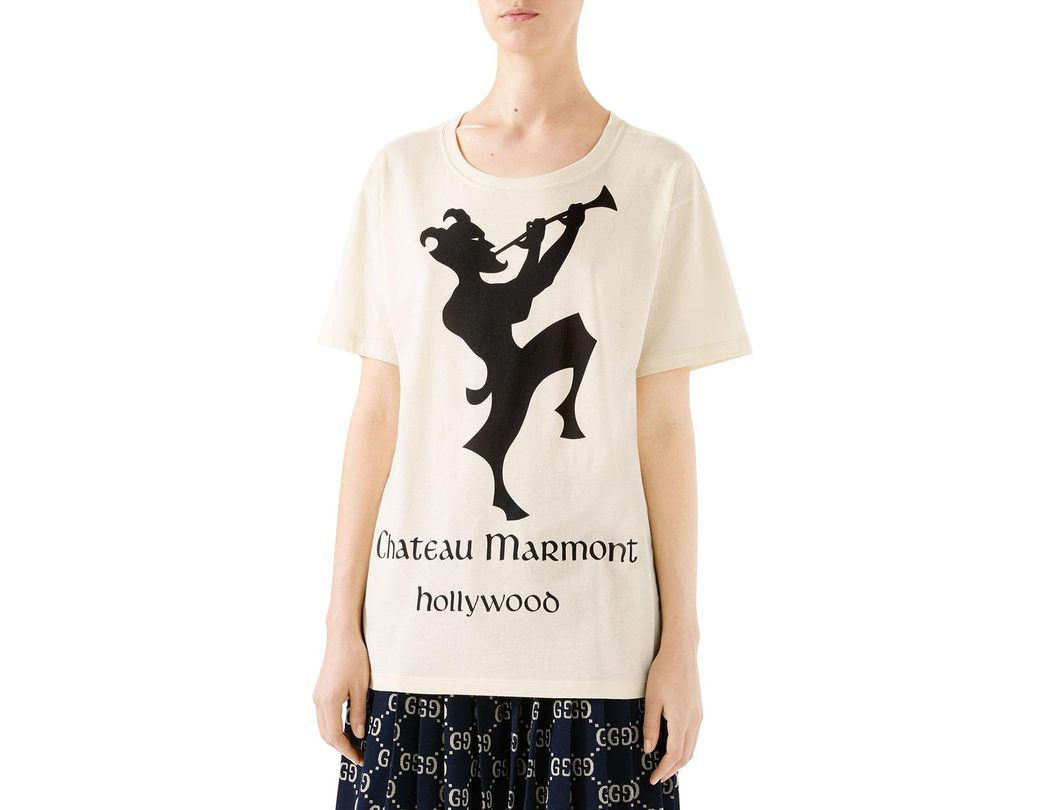 cbc46dfe435 Lyst - Gucci Oversized Chateau Marmont T-shirt in White