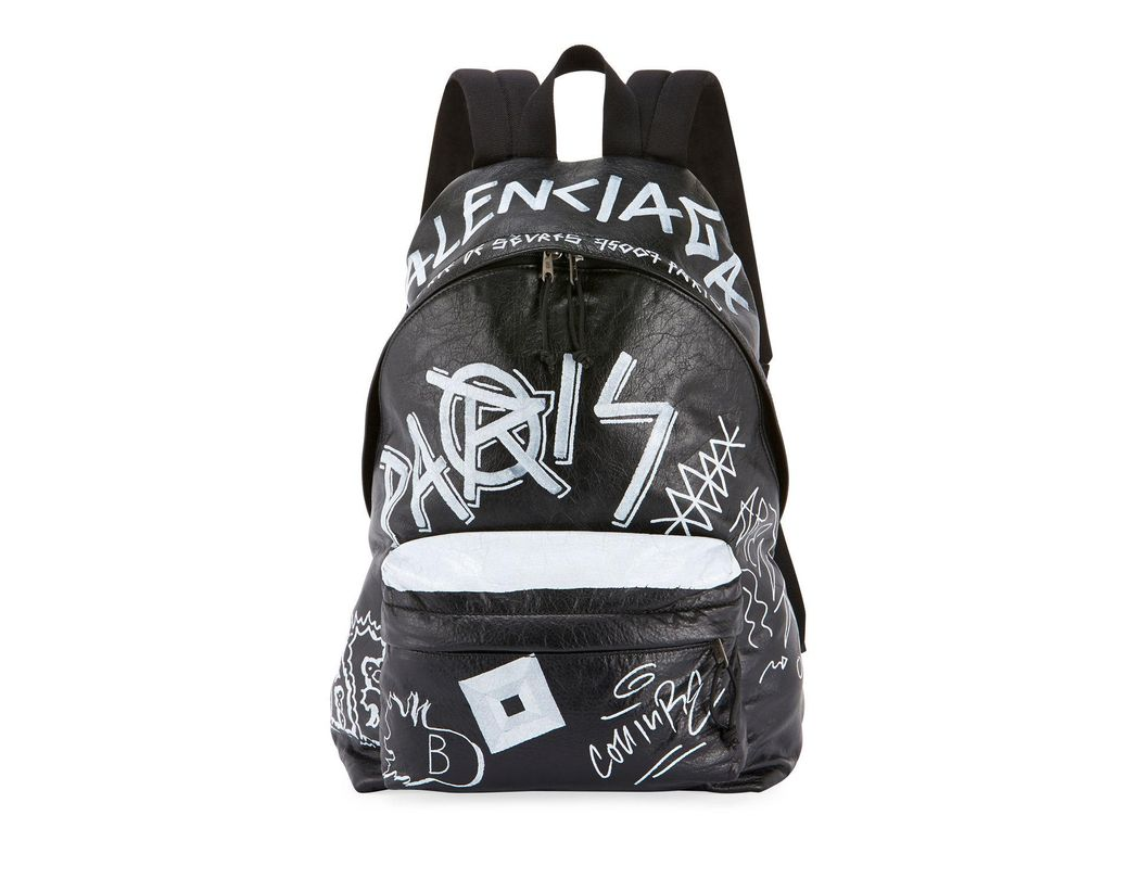 0f6d2c9ddc7 Balenciaga. Men s Black  explorer  Graffiti Print Leather Backpack.  2