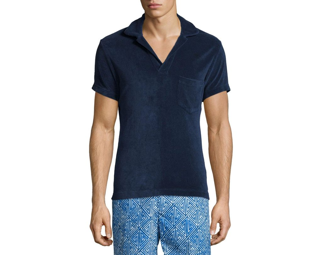 a8b9b9208f6b40 Lyst - Orlebar Brown Terry Towel Short-Sleeve Polo Shirt in Blue for ...