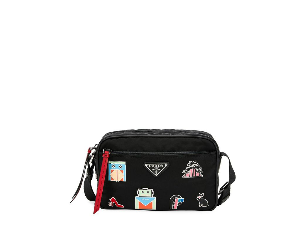 39e27cccd358 Lyst - Prada Nylon Shoulder Bag With Graphic Appliqués in Black ...