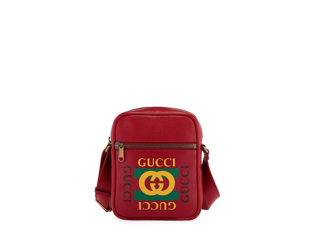 ff06a02e90a Lyst - Gucci Men s Retro Leather Crossbody Bag in Red for Men