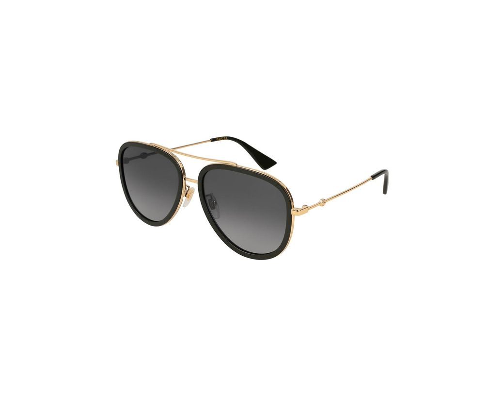 8be43e57abd Lyst - Gucci Polarized Rimmed Metal Pilot Sunglasses in Metallic ...